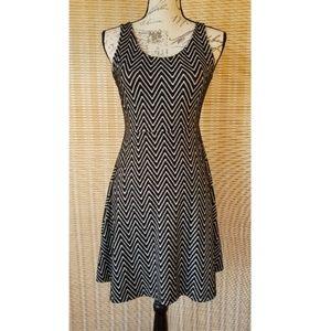 Black Patterned A-Line Skate Dress